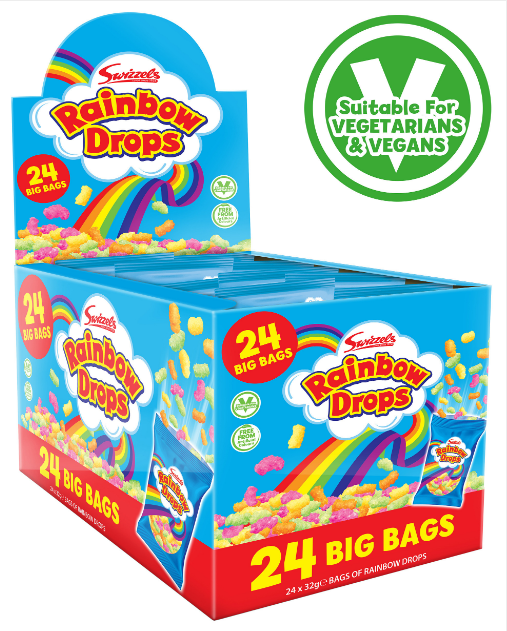 Swizzels Mega Rainbow Drops 24x32g [Regular Stock], Swizzels, Bagged Candy- HP Imports