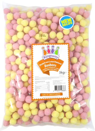 Kingsway Rhubarb & Custard Bonbons - 3 kg [Regular Stock], Bulk Candy, Kingsway, [variant_title],HP Imports British Wholesale Distribution