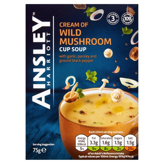 Ainsley Harriott Cream of Wild Mushroom Cup Soup 12x75g [Regular Stock], Ainsley Harriot, Soups- HP Imports