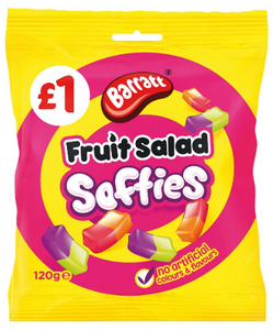 Barratt Fruit Salad Softies (PM) 12x120g [Regular Stock], Barratt, Bagged Candy- HP Imports
