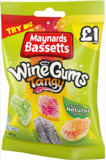 Maynards Bassetts Tangy Wine Gums (PM) 12x165gm [Regular Stock], Maynards Bassetts, Bagged Candy- HP Imports