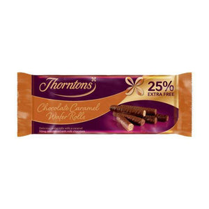 Thorntons Chocolate Caramel Wafer Rolls 14x129g (25% free) [Regular Stock], Thorntons, Biscuits/Crackers- HP Imports