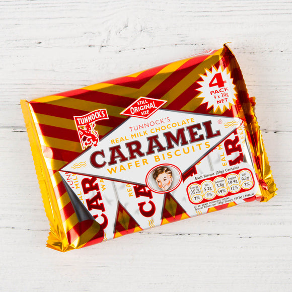 Tunnocks Milk Choc Caramel Wafers 4Pk 20*30g [Regular Stock], Biscuits/Crackers, Tunnocks, [variant_title],HP Imports British Wholesale Distribution