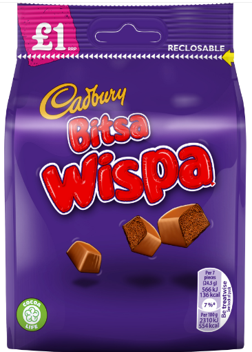 Cadbury Bitsa Wispa Pouch 10*95g [Pre-Order Stock], Chocolate Bar/Bag, Cadbury, [variant_title],HP Imports British Wholesale Distribution
