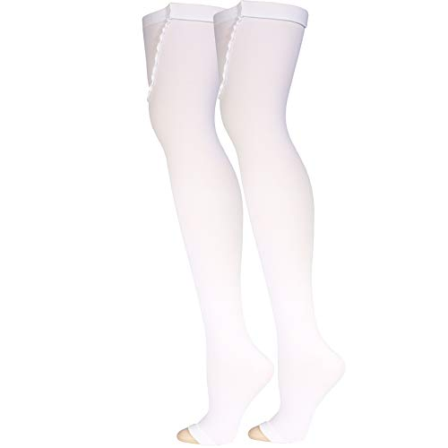 Truform Surgical Stockings, 18 mmHg Compression for Men and Women, Thigh High Length, Closed Toe, White, Large