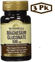 Magnesium Gluconate 500 Mg 90 Tb - From Windmill PAck of 3