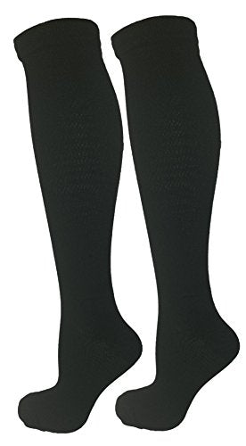2 Pair Black Small/Medium Ladies Compression Socks, Moderate/Medium Compression 15-20 mmHg. Therapeutic, Occupational, Travel & Flight Knee-High Socks. Womens and Mens Hosiery.