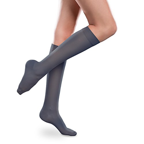 Sheer Ease Women's Knee High Support Stockings - 15-20mmHg Mild Compression Nylons (Navy, Medium Long)
