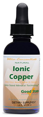 Good State | Natural Ionic Copper 1.6 oz | Liquid Concentrate | Nano Sized Mineral Technology | Professional Grade Dietary Supplement | Supports Healthy Growth & Development | 1.6 Fl oz Bottle (50 mL)