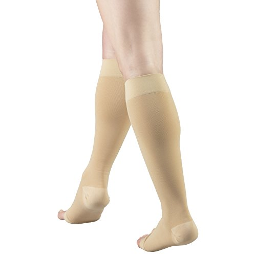 Truform Short Length 30-40 mmHg Compression Stockings for Men and Women, Reduced Length, Open Toe, Beige, X-Large