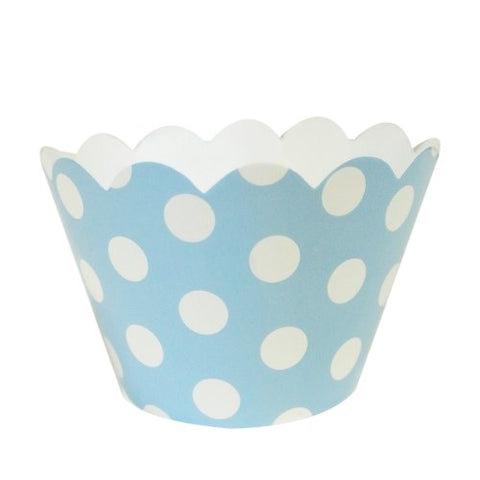 AllyDrew Standard Size Polka Dots Cupcake Wrappers (Set of 20), Blue