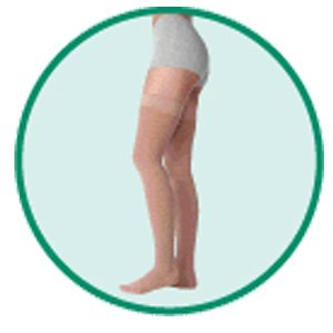 Varin Soft Full Thigh Stocking with Hip Attachment Left, Beige, Size 3, Medium, Compression 30-40 m
