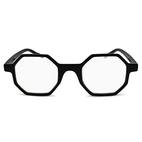 2SeeLife Hexagon Reading Glasses Unique Geometric Octagon Shape | Shiny Black, 1.50