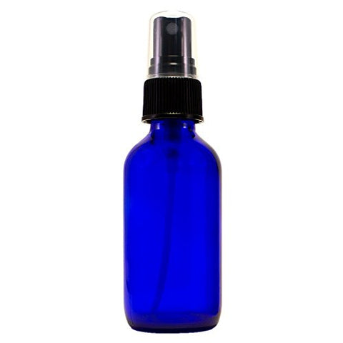 2 fl oz Cobalt Blue Glass Bottle with Black Spray Cap (Single)