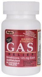 Rugby Gas Relief - Maximum Strength 125 mg 60 Chwbls by Rugby