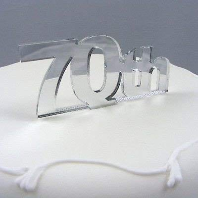 """70th"" Cake Topper Mirror - 6cm with 4cm spike"