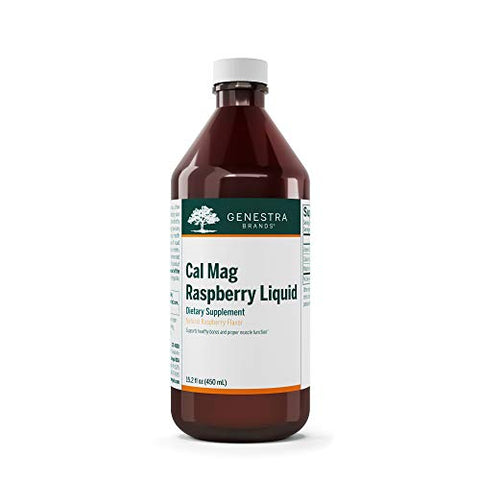 Genestra Brands - Cal Mag Raspberry Liquid - Calcium and Magnesium Citrate Formula with Vitamin D - 15.2 fl. oz.