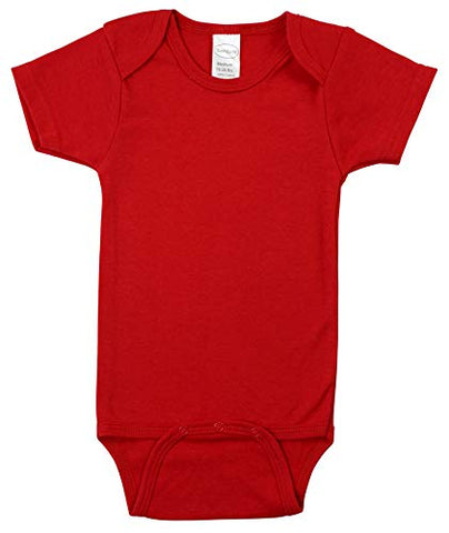 Bambini Red Interlock Short Sleeve Bodysuit Onezie, Large