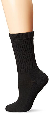 PEDS Women's Diabetic Crew Socks with Coolmax and Non-Binding Funnel Top 2 Pairs, Black, 7-10