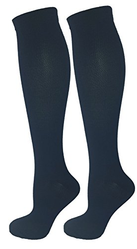 2 Pair Navy Blue Large/X-Large Ladies Compression Socks, Moderate/Medium Compression 15-20 mmHg. Therapeutic, Occupational, Travel & Flight Knee-High Socks. Womens and Mens Hosiery.