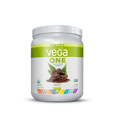 Vega One Organic Meal Replacement Plant Based Protein Powder, Mocha - Vegan, Vegetarian, Gluten Free, Dairy Free with Vitamins, Minerals, Antioxidants and Probiotics (9 Servings, 12.7oz)