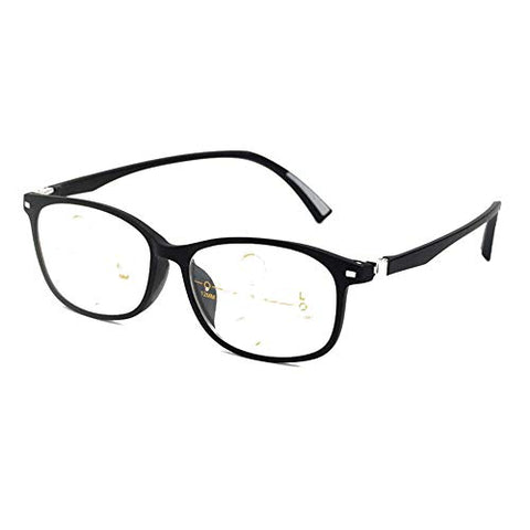 QQAA Progressive Reading Glasses Men and Momen Multi-Focus Intelligent Zoom,Transparent Lens,Reduce Headaches&Eyestrain,Suitable for Reading/Running