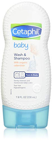 Cetaphil Baby Wash and Shampoo with Organic Calendula, 7.8 Ounce (Pack of 2)