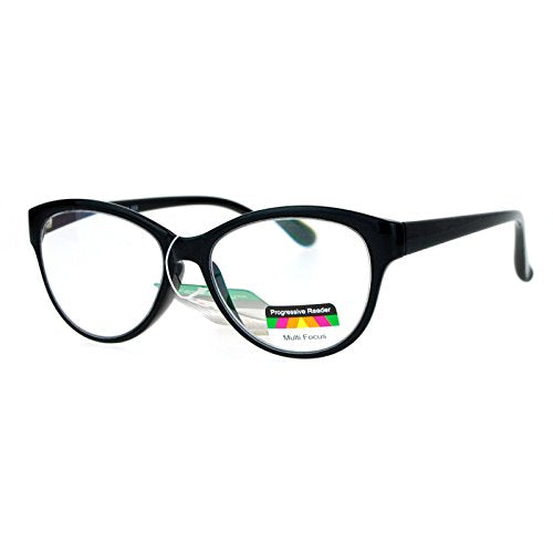 Multi Focus Progressive Reading Glasses 3 Powers in 1 Reader Cat Eye Black +2.00