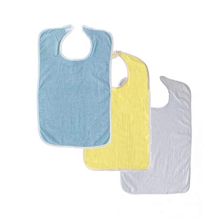 3 Terry Adult Bib with Hook and Loop Closure (Blue, Yellow, White)