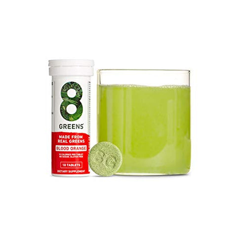 8Greens Immunity and Energy Effervescent Tablets - Packed with 8 Powerful Super Greens (Blood Orange, 1 Tube / 10 Tablets)