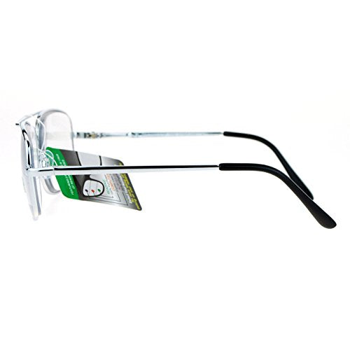 SA106 Rectangular Metal Frame Multi 3 Focus Progressive Reading Glasses Silver +1.75
