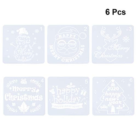 Amosfun 6Pcs Merry Christmas Stencils Plastic Template for Painting Craft Art Drawing DIY