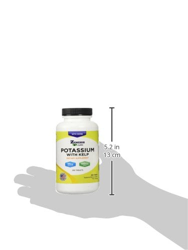 Potassium Gluconate with Iodine Kelp - 250 Tablets - 99mg per Tablet with 150mcg of Iodine - Leg & Muscle Cramp Relief - Blood Pressure Support