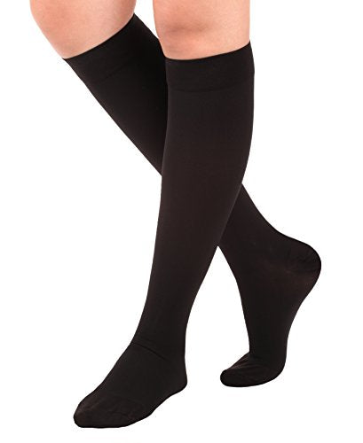 Made in USA Opaque Compression Socks Knee-Hi Closed Toe 20-30mmHg Black Small