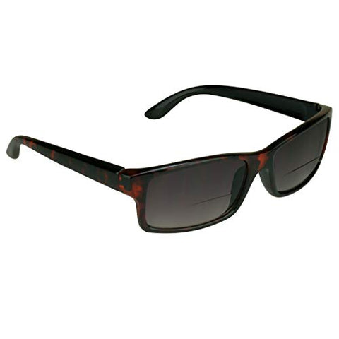proSPORT Tinted Bifocal Sunglasses +3.00 Smoke Lens Tortoise Shell Brown Rectangle Plastic Frame Men and Women
