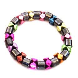 CrystalAge Magnetic Hematite Bracelet - Multi Coloured Star Beads