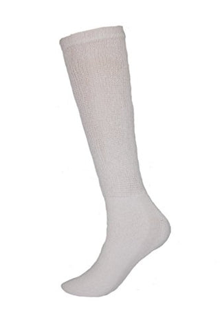 Sole Pleasers Men's Diabetic Over the Calf Socks - 3 Pairs (White)