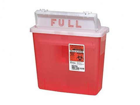 Kendall Multi Purpose Sharps Container with Counter Balanced Lid - 5 Quart Translucent