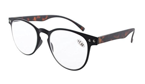 Eyekepper Round Full Coverage Ultrathin Flex Frame Reading Glasses Black Frame Tortoise Arms +1.5