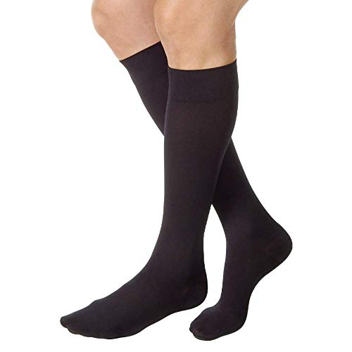 JOBST Relief Knee High 20-30 mmHg Compression Socks, Closed Toe, Black, Large