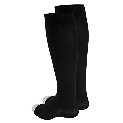 Truform 30-40 mmHg Compression Stockings for Men and Women, Knee High Length, Open Toe, Black, Small