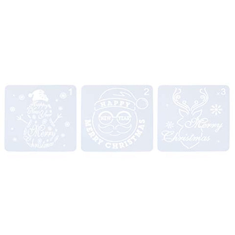 Amosfun 6Pcs Air Brush Templates Christmas Festive Stencils Spurt Draws Mold Painting Moulds DIY Templates for Mall Home Shop