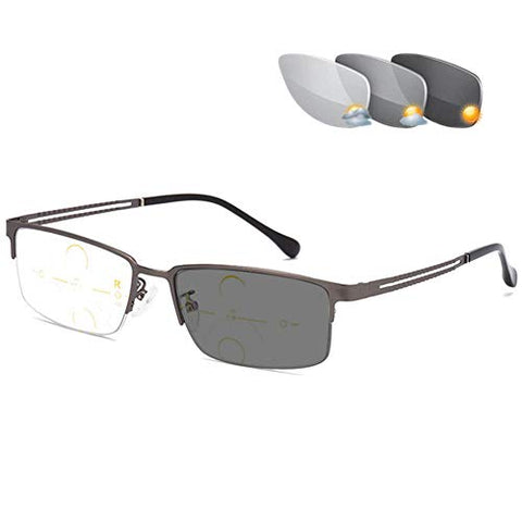 QQAA Progressive Reading Glasses Men??Double Focus is Available,Outdoor Color-Changing Radiation-Proof Sunglasses,Reduce Headaches&Eyestrain,Multiple Colour