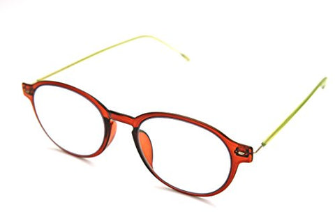 ColorViper Flexible Memory Frame reader Unisex lightweight Reading Glasses (Round transparent shiny brown, 1.00)