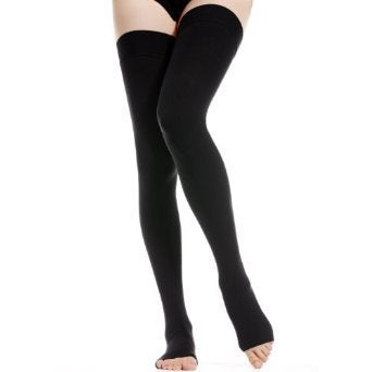 BriteLeafs Opaque Thigh High Compression Stockings Firm Support 20-30 mmHg, Open Toe, Lace Top, Silicone Band - Gradient Compression (Small, Black)