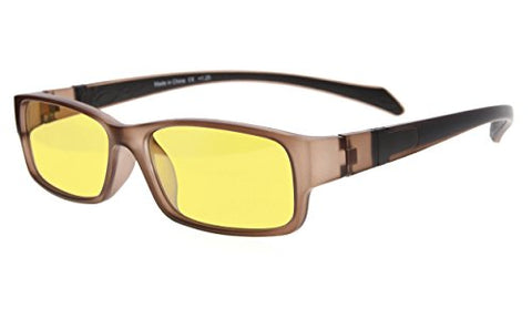 Eyekepper UV and Computer/TV Electromagnetic Radiation Protection,Scratch Resistant, Anti Blue Light More Than 94% Computer Glasses, Yellow Tinted Lens (Brown/Brown Arm +1.50)