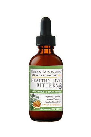 Urban Moonshine Healthy Liver Bitters | Organic Herbal Supplement for Digestion, Detox & Healthy Cholesterol Support | Artichoke & Raw Honey | 2 FL OZ (Pack of 1)