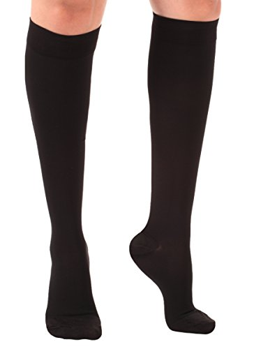 Made In Usa Opaque Compression Socks â?? 30 40mm Hg, Closed Toe, Black, Large