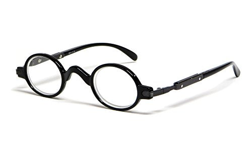 Calabria R314 Unisex Vintage Professor Oval Reading Glasses Incredibly Lightweight and Comfortable in Black +1.50