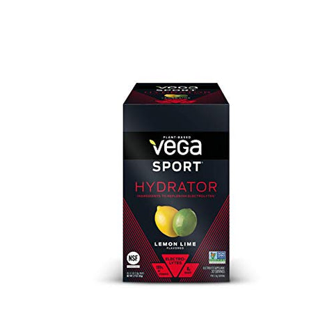 Vega Sport Hydrator Electrolyte Powder Packets, Lemon Lime - Hydration Supplement, No Artificial Flavors, Sugar Free, Vegan, Keto Friendly, Gluten Free, Non Dairy, Non GMO (30 Single Serve Packets)